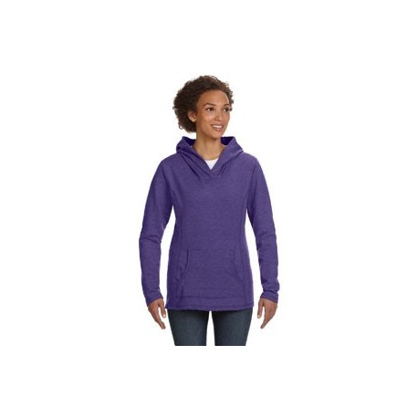 LADIES' FRENCH TERRY CROSSNECK HOODED SWEATSHIRT WITH MELLING LOGO EMBROIDERED